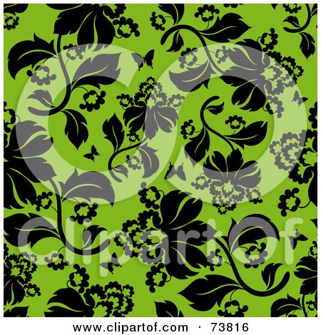 Royalty-Free (RF) Clipart Illustration of a Seamless Background Of Black Flowers And Butterflies On Green by elena