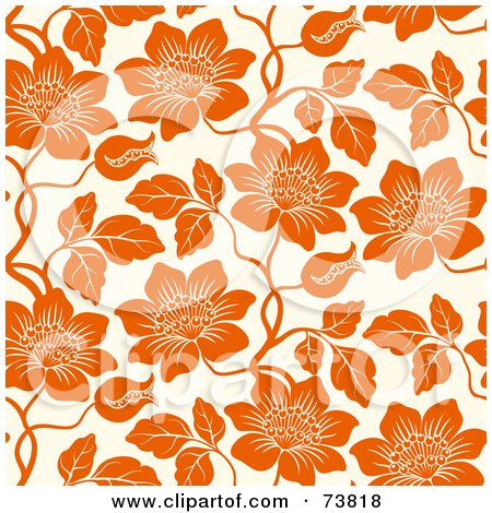 Royalty-Free (RF) Clipart Illustration of a Seamless Background Of Orange Flowers On Off White by elena