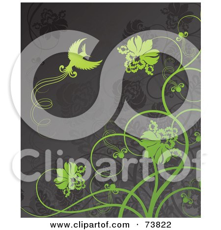Royalty-Free (RF) Clipart Illustration of a Gray Background With Green Flowers And A Bird by elena