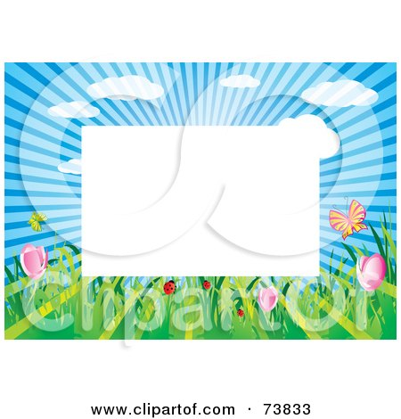 Royalty-Free (RF) Clipart Illustration of a Border Of Sunshine, Insects And Spring Flowers Around White Space by MilsiArt
