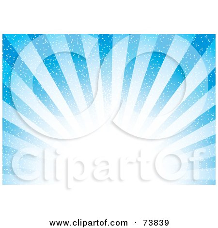 Royalty-Free (RF) Clipart Illustration of a Bright Blue Burst Of Sunshine With White Light by MilsiArt