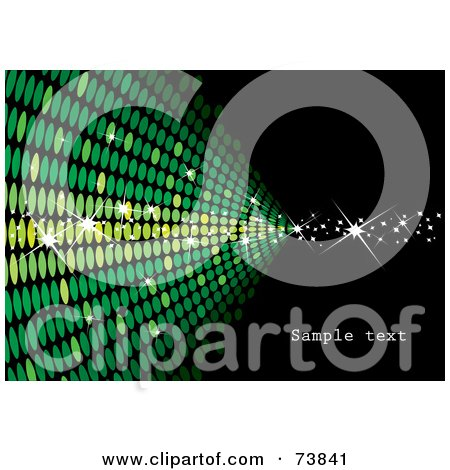 Royalty-Free (RF) Clipart Illustration of a Green Wall Of Sparkly Halftone On Black With Sample Text by MilsiArt