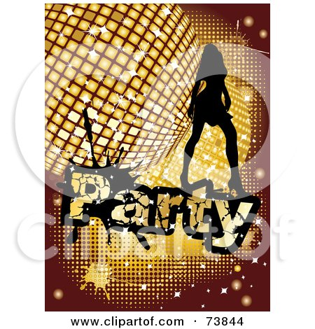 Royalty-Free (RF) Clipart Illustration of a Silhouetted Lady Dancing Over A Golden Disco Party Background by MilsiArt