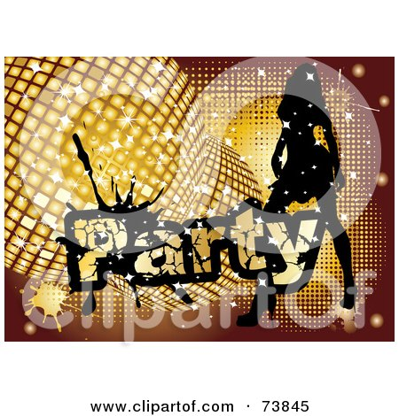 Royalty-Free (RF) Clipart Illustration of a Silhouetted Lady Dancing By Golden Disco Balls And Party Text by MilsiArt