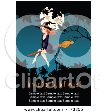 Royalty-Free (RF) Clipart Illustration of a Sexy Red Haired Witch Flying In Front Of Bats And A Full Moon, With Sample Text by Pushkin