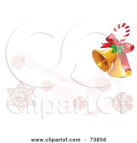 Royalty-Free (RF) Clipart Illustration of a Candy Cane With Holly And Christmas Bells Over A White With Red Snowflakes by Pushkin