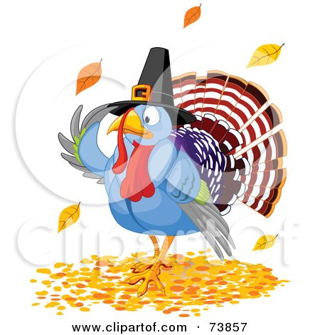 Royalty-Free (RF) Clipart Illustration of a Thanksgiving Turkey Pilgrim Wearing A Hat And Standing In Autumn Leaves by Pushkin