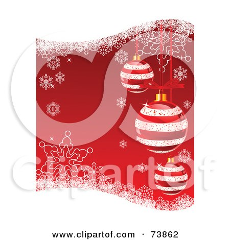 Royalty-Free (RF) Clipart Illustration of a Red Christmas Background With Striped Ornaments, Snowflakes And Grunge by Pushkin