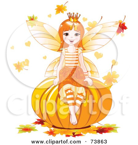 Royalty-Free (RF) Clipart Illustration of an Autumn Fairy Sitting On A Pumpkin, Surrounded By Falling Leaves by Pushkin