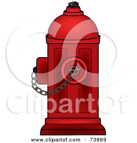 Royalty-Free (RF) Clipart Illustration of a Dark Red Fire Hydrant With A Chain by Pams Clipart