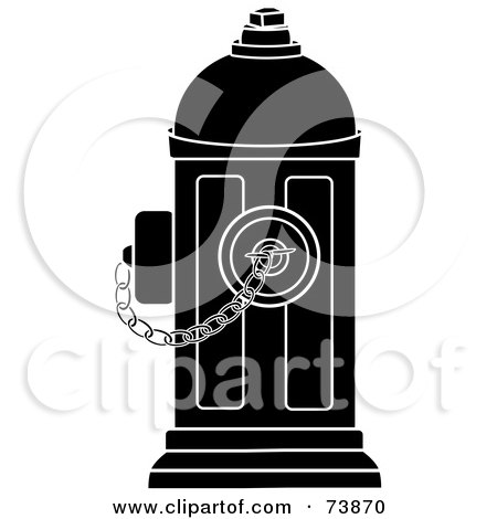 Royalty-Free (RF) Clipart Illustration of a Black And White Fire Hydrant With A Chain by Pams Clipart