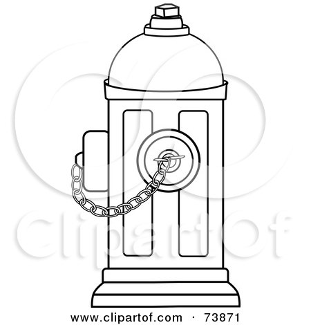 Royalty-Free (RF) Clipart Illustration of a Black And White Outline Of A Fire Hydrant With A Chain by Pams Clipart