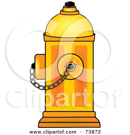 Royalty-Free (RF) Clipart Illustration of a Yellow Fire Hydrant With A Chain by Pams Clipart