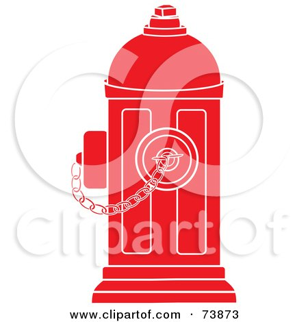 Royalty-Free (RF) Clipart Illustration of a Red And White Fire Hydrant With A Chain by Pams Clipart