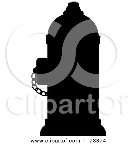 Royalty-Free (RF) Clipart Illustration of a Black Silhouetted Fire Hydrant With A Chain by Pams Clipart