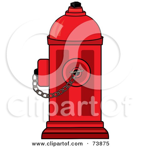 Royalty-Free (RF) Clipart Illustration of a Bright Red Fire Hydrant With A Chain by Pams Clipart