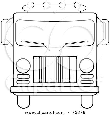 Royalty-Free (RF) Clipart Illustration of a Black And White Outline Of A Fire Engine by Pams Clipart