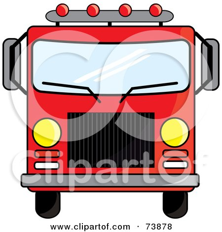 Royalty-Free (RF) Clipart Illustration of a Red Fire Truck Driving Forward by Pams Clipart