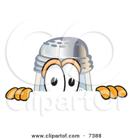 Clipart Picture of a Salt Shaker Mascot Cartoon Character Peeking Over a Surface by Toons4Biz