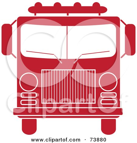 Royalty-Free (RF) Clipart Illustration of a Red And White Fire Truck by Pams Clipart