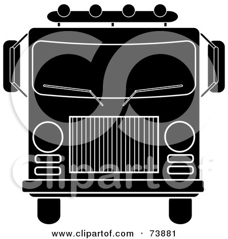 Royalty-Free (RF) Clipart Illustration of a Black And White Fire Engine by Pams Clipart