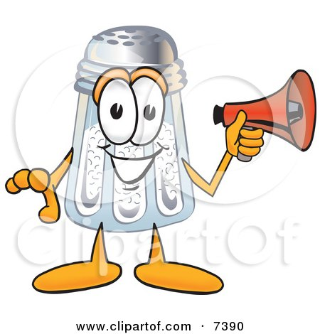 Clipart Picture of a Salt Shaker Mascot Cartoon Character Screaming Into a Megaphone by Toons4Biz