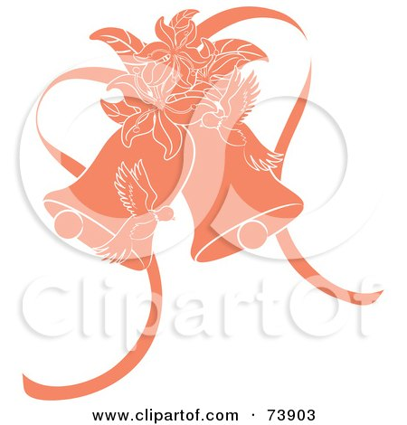 Royalty-Free (RF) Clipart Illustration of Orange Doves, Lilies And Wedding Bells by Pams Clipart