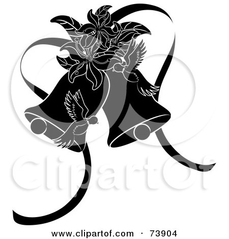 Black And White Doves Lilies And Wedding Bells by Rogue Design and Image