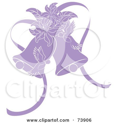Royalty-Free (RF) Clipart Illustration of Purple Doves, Lilies And Wedding Bells by Pams Clipart