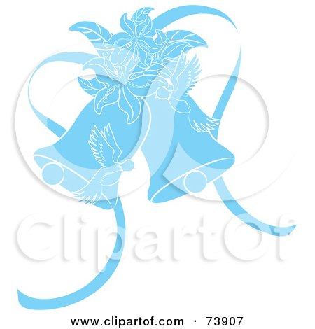 Royalty-Free (RF) Clipart Illustration of Blue Doves, Lilies And Wedding Bells by Pams Clipart