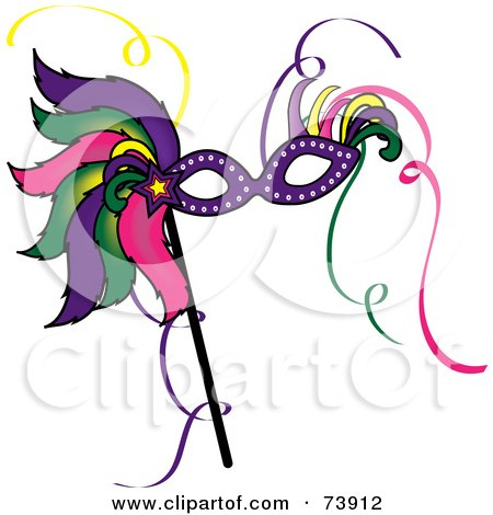 Royalty-Free (RF) Clipart Illustration of a Colorful Feathered Mardi Gras Mask by Pams Clipart