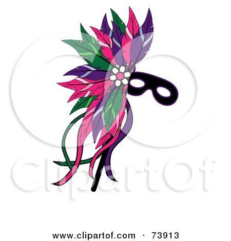 Royalty-Free (RF) Clipart Illustration of a Black Mardi Gras Mask With Colorful Feathers by Pams Clipart