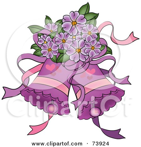 Royalty-Free (RF) Clipart Illustration of Purple Wedding Bells With Hearts And Purple Flowers by Pams Clipart