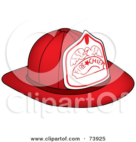 Royalty-Free (RF) Clipart Illustration of a Red Fire Chief Hat With An Eagle by Pams Clipart