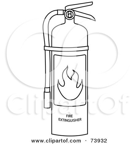Royalty free rf clipart illustration of a black and for Fire extinguisher coloring page