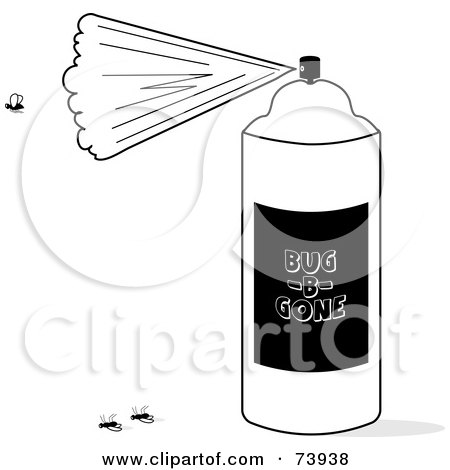 black and white aerosol bug killer spray can with dead flies posters art prints by pams clipart. Black Bedroom Furniture Sets. Home Design Ideas