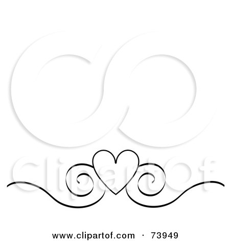 White Flower on Black And White Heart And Scroll Design Border On A White Ba    By