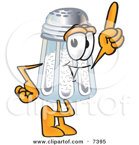 Clipart Picture of a Salt Shaker Mascot Cartoon Character Pointing Upwards by Toons4Biz