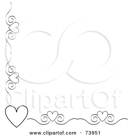 Royalty-Free (RF) Clipart Illustration of a Black And White Heart And Scroll Corner Border On A White Background by Pams Clipart
