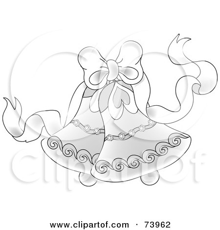 White Bow With Elegant Wedding Bells Royalty Free RF Clipart