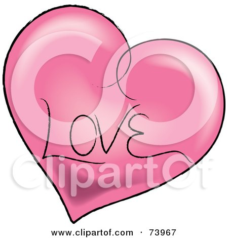 Royalty-free clipart picture of a pink heart with a black outline and love