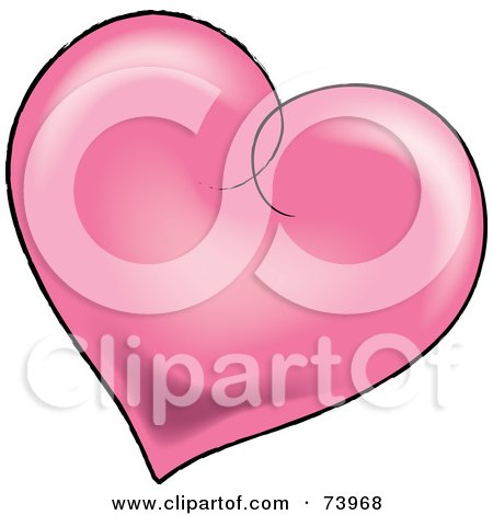Royalty-Free (RF) Clipart Illustration of a Pink Shaded Heart With A Black Outline by Pams Clipart