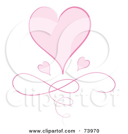 Royalty-Free (RF) Clipart Illustration of a Large Pink Heart With Two Small Hearts Over A Swirl by Pams Clipart