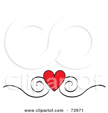 Royalty-Free (RF) Clipart Illustration of a Red Heart And Black Scroll Design Border On A White Background by Pams Clipart