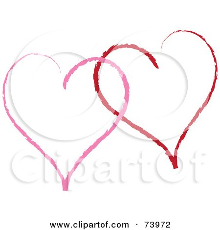 Royalty-Free (RF) Clipart Illustration of Two Sketched Red And Pink Heart Outlines by Pams Clipart