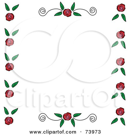 Royalty-Free (RF) Clipart Illustration of a Border Of Roses And Leaves With Scrolls On The Top And Bottom, Over White by Pams Clipart