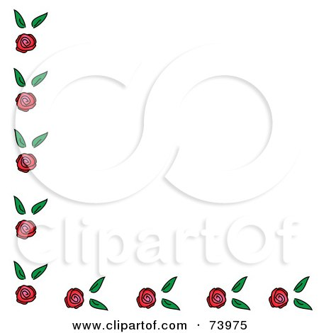 Royalty-Free (RF) Clipart Illustration of a Corner Border Of Roses And Leaves On White by Pams Clipart