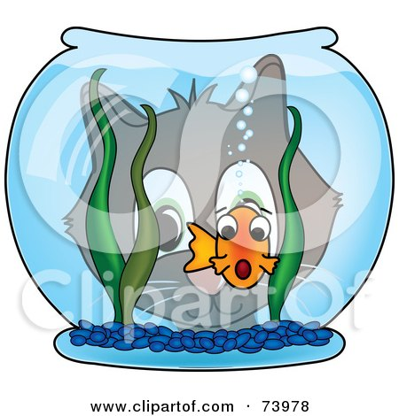 Royalty-Free (RF) Clipart Illustration of a Cat Gazing Through A Bowl At A Scared Goldfish by Pams Clipart