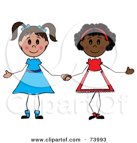 royalty free rf clipart illustration of two diverse girls holding rh clipartof com