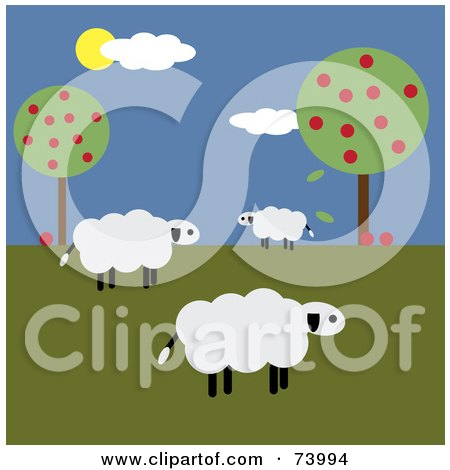 Royalty-Free (RF) Clipart Illustration of a Flock Of Three White Sheep Near Apple Trees by Pams Clipart